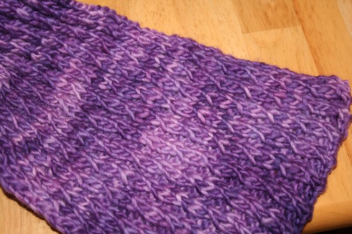 purple scarf close up