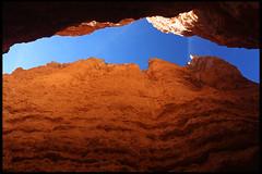 "A look up from inside ""Wall Street"" (rickz) Tags: travel winter snow color landscape utah nationalpark ut sandstone scenery colorful canyon hoodoo wallstreet brycecanyon 2007 rockformation grandcircle gcrtd9 gcrt2007d2007d10"