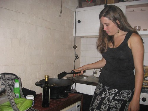 Bonnie cooks up a stir fry