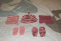 Baby sister's hats and mittens
