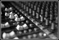 Mix Down (studio79) Tags: blackandwhite 20d canon mix angle buttons board sound tamron knobs audio f28 shallowdepthoffield sliders