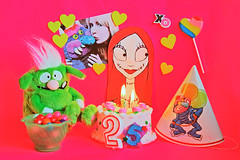 Sally-brating Your Birthday!!! (boopsie.daisy) Tags: birthday party color love colors monster hearts friend colorful candles friendship candy sally celebration birthdaycake 25 xo tribute partyhat wish lollipop greeting eyecandy gumballs nightmarebeforechristmas twentyfive mypetmonster sallymonster
