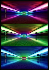 Rainbow tunnel @Detroit Metro (caterpillars) Tags: vacation people color lights airport triptych michigan detroit wideangle tunnel canondigitalrebel pedestriantunnel detroitmetroairport mcnamaraterminal sigma1020mm canon400d canonxti mattandryanareassholes randlseattle2008 myphotosawesome