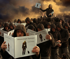 Photomontaged Daydreams (Mattijn) Tags: cat self book crowd surreal hoody tired clones presentation pino mattijn daydreams photomontaged