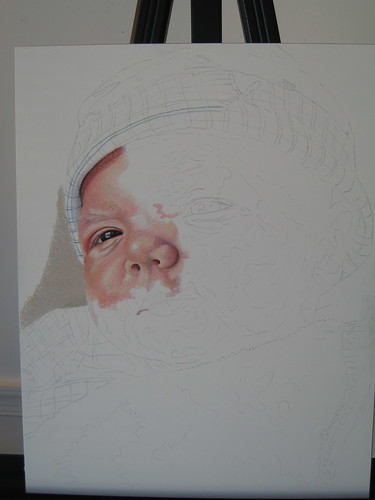 In progress scan of colored pencil drawing entitled Emre.