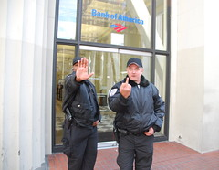 Bank of America security giving me the finger during the Iraq war protest