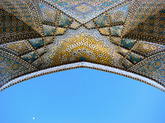 (Alieh) Tags: moon architecture persian iran entrance persia mosque ceiling iranian  esfahan isfahan        aliehs alieh tourofiran      rahimkhanmosque