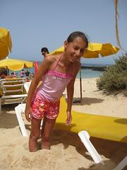 Liz. ((((Lee)))) Tags: family holiday liz beach girl canon fun islands sand hole buried fuerteventura daughter ixus canary 2008 compact lean 950 coralejo