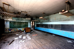 (chasingcars36) Tags: decay indiana urbanexploration portage chalkboard hardwoodfloor urbex lightfixtures ceilingtiles abandonedschool