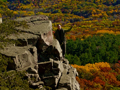 Rainy Wednesday Tower (mike.palic) Tags: trees red lake tower fall colors rock wednesday colours seasons devils climbing rainy bluff toprope donttrythisathome clif ilovethissport imanchoredin