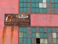 Abandoned factory in Downtown Detroit (DetroitDerek Photography ( ALL RIGHTS RESERVED )) Tags: pink november red urban favorite color abandoned industry window sign lumix midwest downtown industrial factory decay michigan urbandecay detroit ruin warehouse explore clay cottoncandy dilapidated 2007 manufacture 313 motown overspike