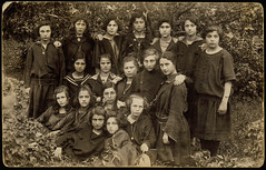 """""""The 21 Club"""" (rosewithoutathorn84) Tags: friends portrait holocaust women pretty 21 group young jewish lithuania eisiskes"""