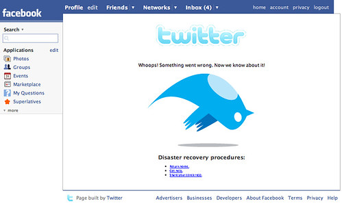 Twitter is down in facebook
