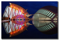 yesterday evening reflections (Toni F.) Tags: valencia architecture night reflections spain colours calatrava cac sciencemuseum imax santiagocalatrava hemisfric blueribbonwinner supershot 10faves 25faves perfectangle firsttheearth