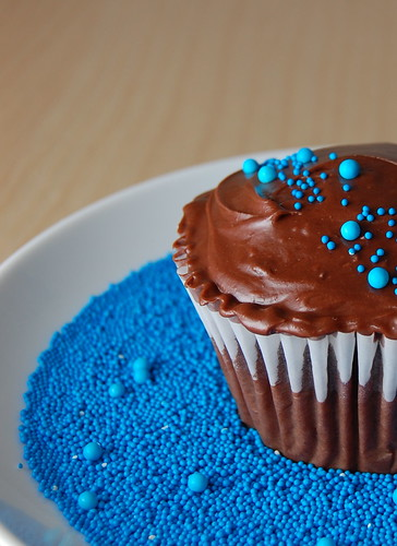 Chocolate Cupcake with blue sprinkles