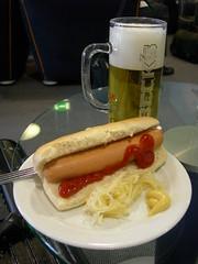 Beer and Hotdog at Lufthansa Senator Lounge