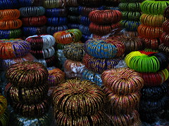 Colors and patterns (Octobit) Tags: street travel india color glitter shopping colorful market sale pavement traditional stack round roadside hindu kolkata calcutta bangles westbengal commodities pashchimbanga
