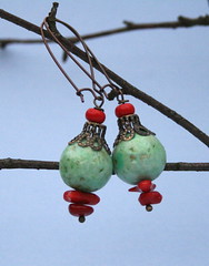 earrings with fimo-beads