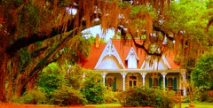 Secret Creole Cottage (bluecinderella) Tags: trees light orange white house color tree green home nature colors architecture fairytale rural moss oak louisiana soft live south country cottage deep front hidden spanish bayou swamp porch oaks gables acadian gable creole cottages swampland kubrickslook bluecinderella