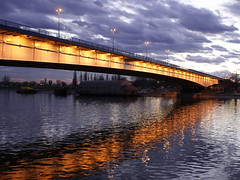 The coming storm (Dragan*) Tags: bridge blue light sky reflection water clouds river serbia ripples belgrade beograd sava srbija dragantodorovic