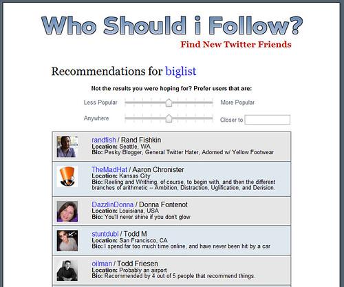 Twitter Tool Who Should I Follow