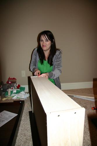 Jessa assembling Jack's dresser