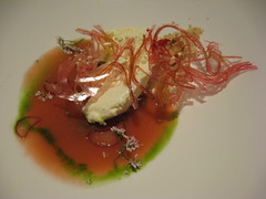 Charlie Trotter's: Stewed rhubarb with white chocolate yogurt and coriander shortbread (close up)