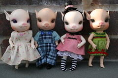 Piggies Galore (cybermelli) Tags: cherry piggy pig ballerina blossom alice gothic william hoody bjd piggie winterberry elfdoll