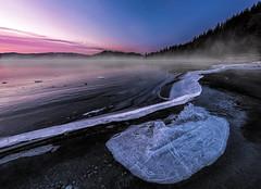 Icy morning (strupert) Tags: polarizer lee reflections pink 1424mm nikon sunrise morning lake snow winter jonsvannet ice norway trondheim