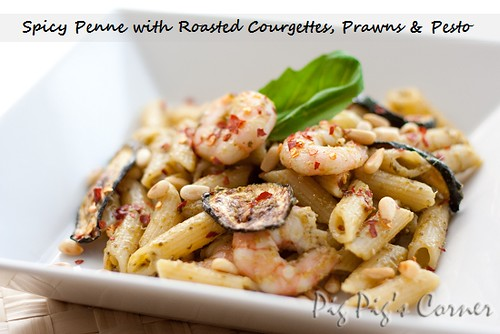 Spicy Penne with Roasted Courgettes Prawns and Pesto