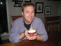 Tim with a red velvet birthday cupcake. (09/25/07)