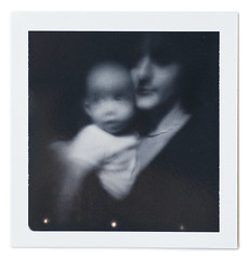 Teo & me (Cea tecea) Tags: boy portrait bw baby polaroid teo pinhole 4months clea iso3000