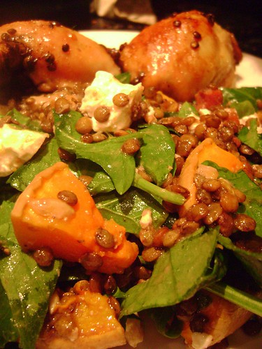 Warm Lentil , Butternut Squash , Goats Cheese and Pancetta Salad