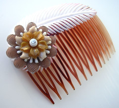 Brown and White Vintage Flowers Hair Comb / Barrette