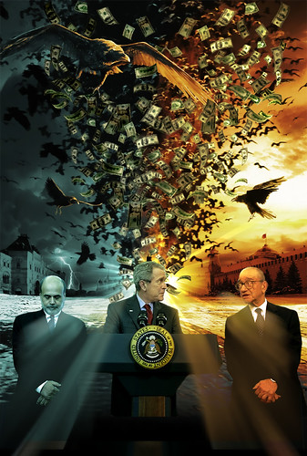 a photo illustration with bernake, bush and greenspan
