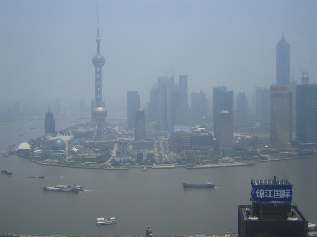 Shanghai on a cloudless day in June