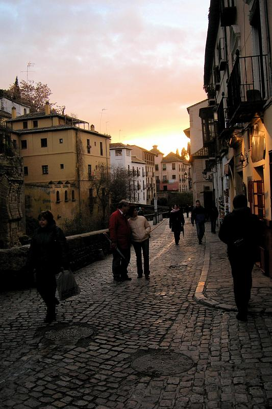 Granada, Carrera del Darro at sunset