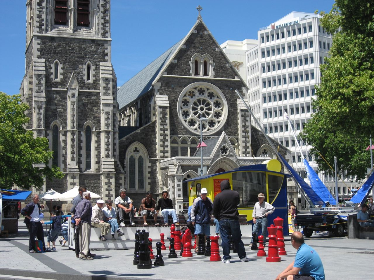 Playing chess in Cathedral Square - Christchurch, New Zealand