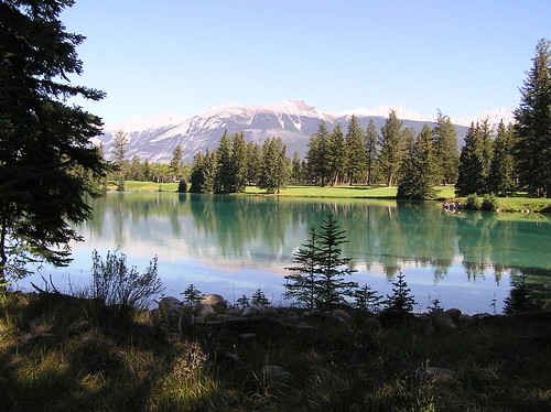 Landscape-Pretty view from Jasper Lodge at Jasper, Alberta Canada