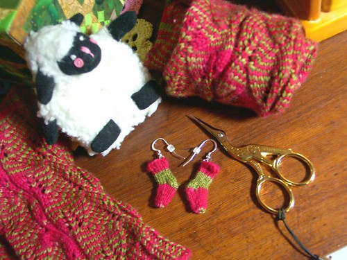 Knit sock earrings to match December Socks