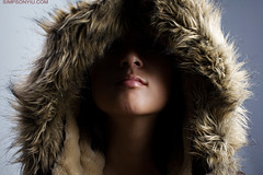 Vicki (simpsonyiu.com) Tags: lighting shadow studio fur nose 50mm hoodie coat lips jacket filter zipper wang vicki alienbees llens nd4 simpsonyiucom