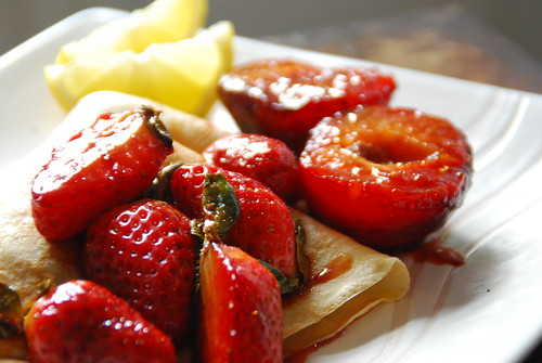 Caramelised Strawberry and Plum w/ crepes