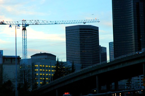 Night crane over boomtown Seattle, part of the Paul Allen investment bloom
