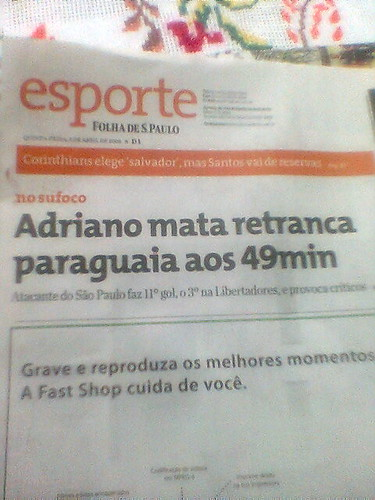 """Capa do caderno """"Esporte"""", da Folha"""