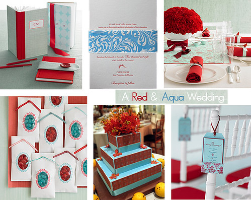 Aqua and Red Wedding These are nice colors together bright and happy