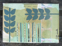 18 - 8x6 canvas (lusummers) Tags: green collage vintage paper mixedmedia canvas norwich stalks blockprinted cluttercity