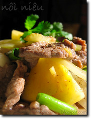 Vietnamese style stir-fried beef with pineaple
