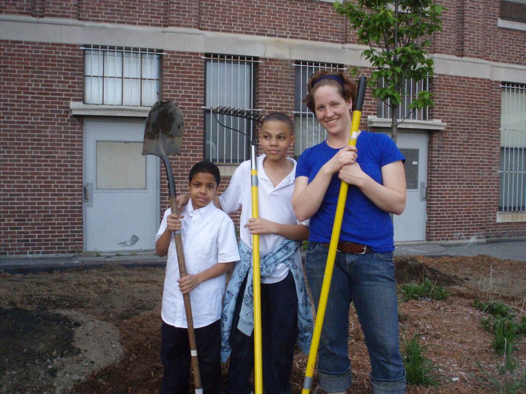 Heidi with young garden stewards