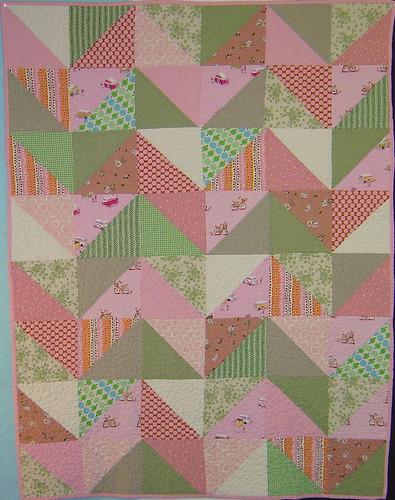 Pink & Green Zig Zag Quilt