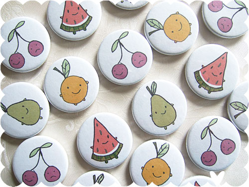 Cutie Fruity Friends badges